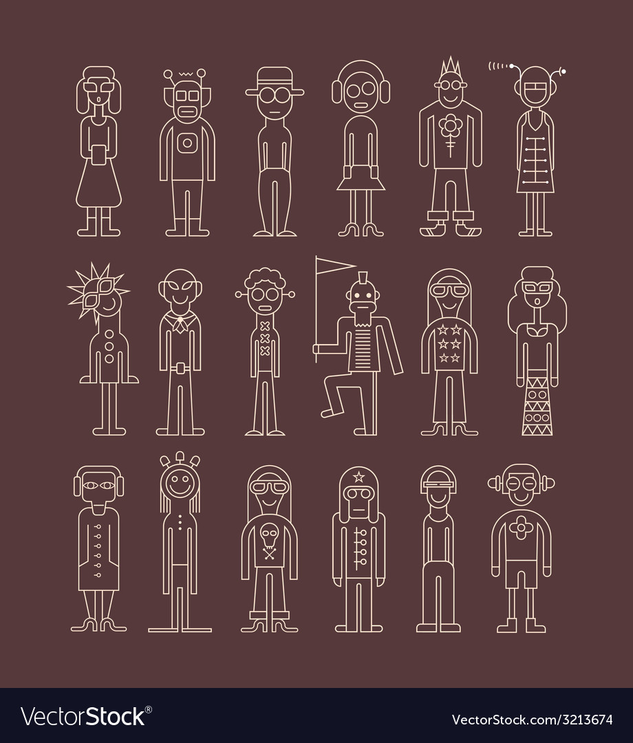 Outline people icons vector | Price: 1 Credit (USD $1)
