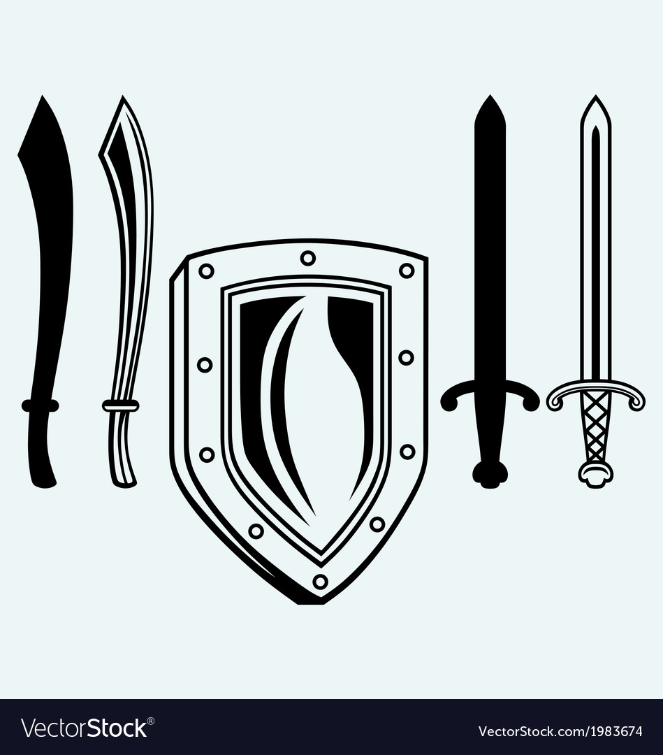 Shield and set dagger vector | Price: 1 Credit (USD $1)
