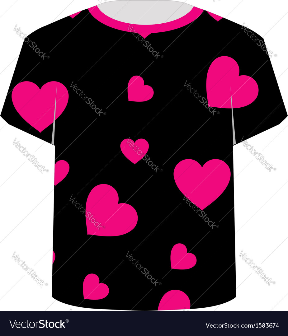 T shirt template- pink hearts vector | Price: 1 Credit (USD $1)