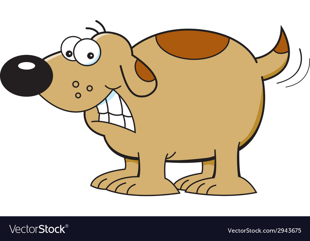 Cartoon dog wagging tail vector | Price: 1 Credit (USD $1)