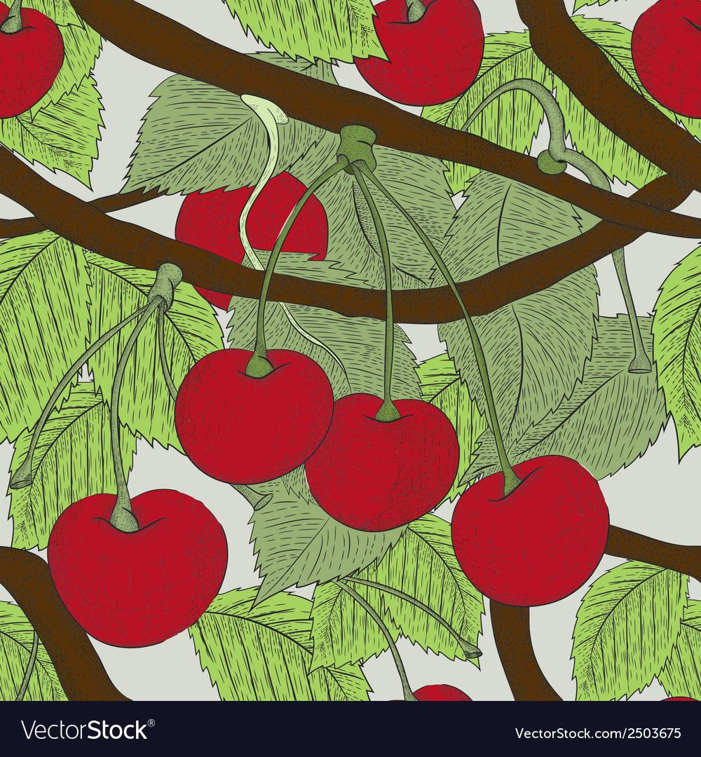 Cherry seamless pattern vector | Price: 1 Credit (USD $1)