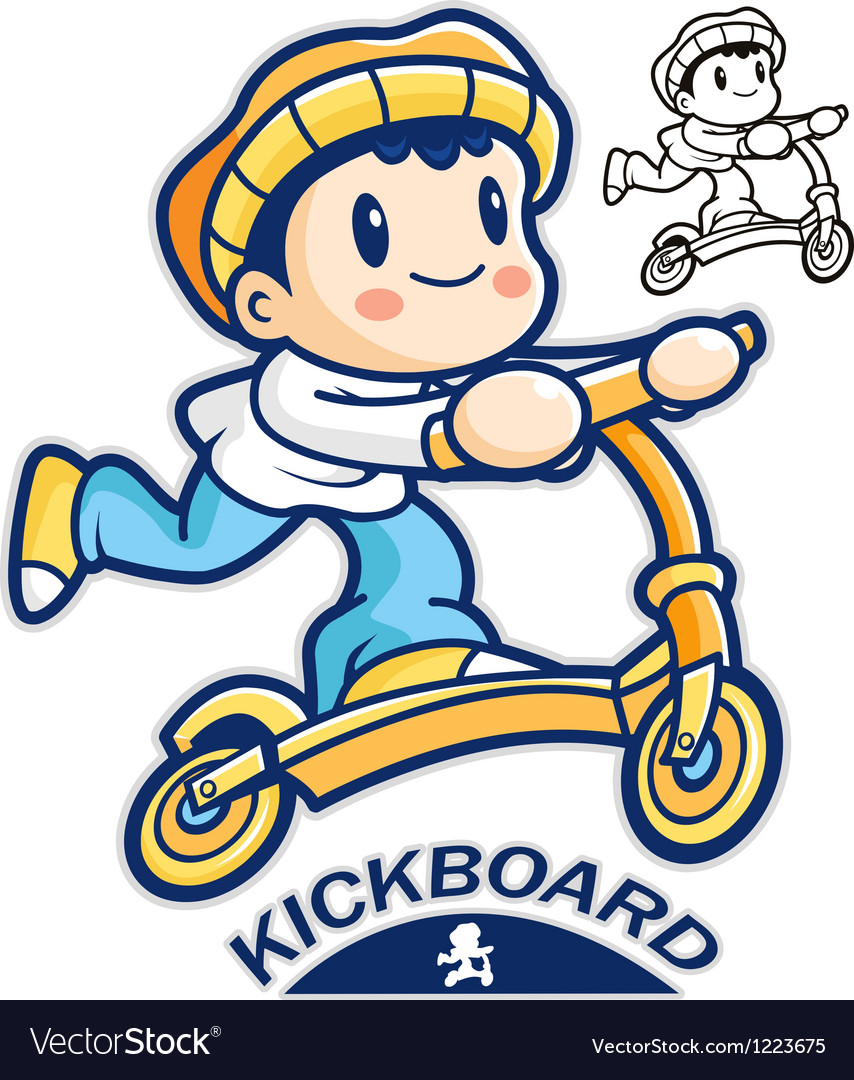 Entertain kids mascot riding kickboards vector | Price: 3 Credit (USD $3)