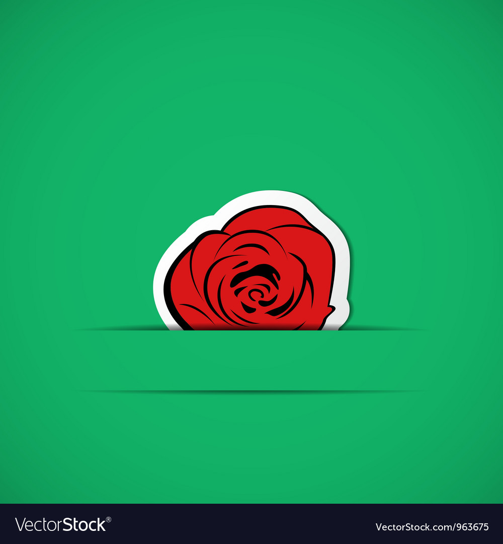 Green card with red rose in paper slit vector | Price: 1 Credit (USD $1)