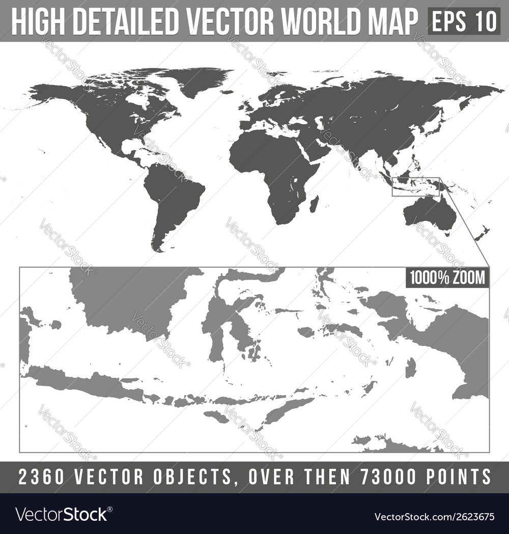High detailed world map vector | Price: 1 Credit (USD $1)