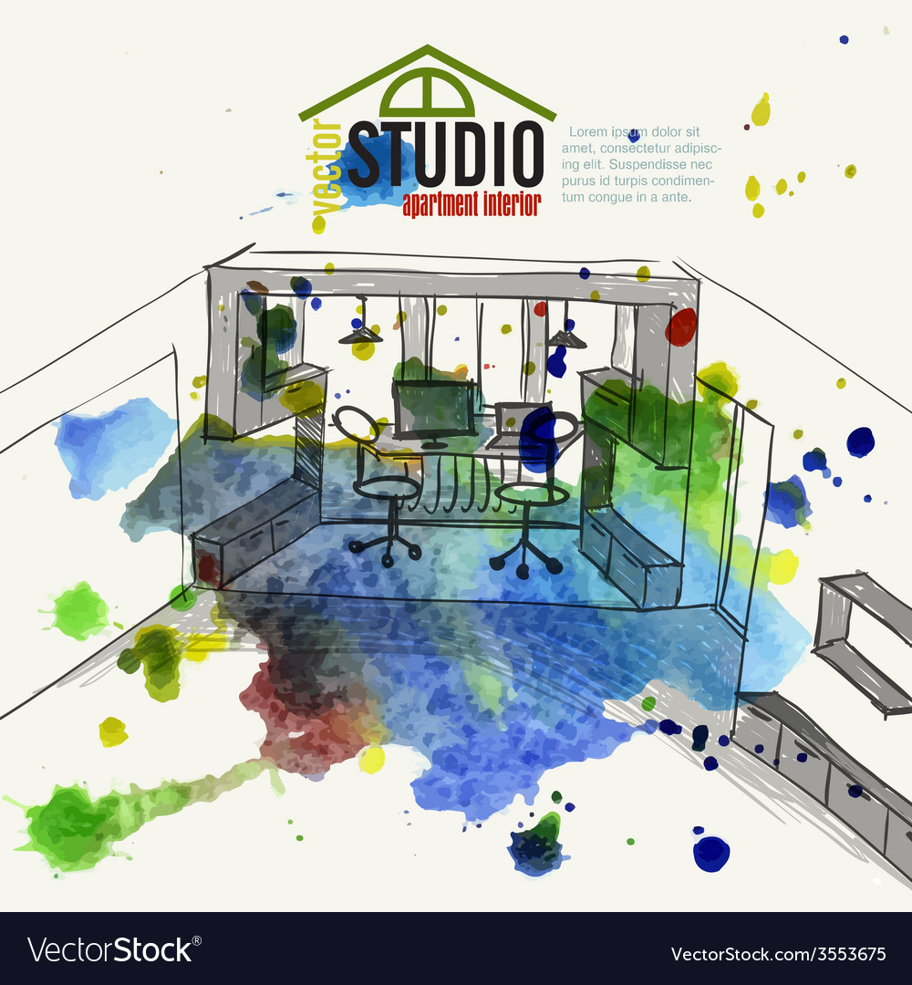 Home office interior sketch vector | Price: 1 Credit (USD $1)