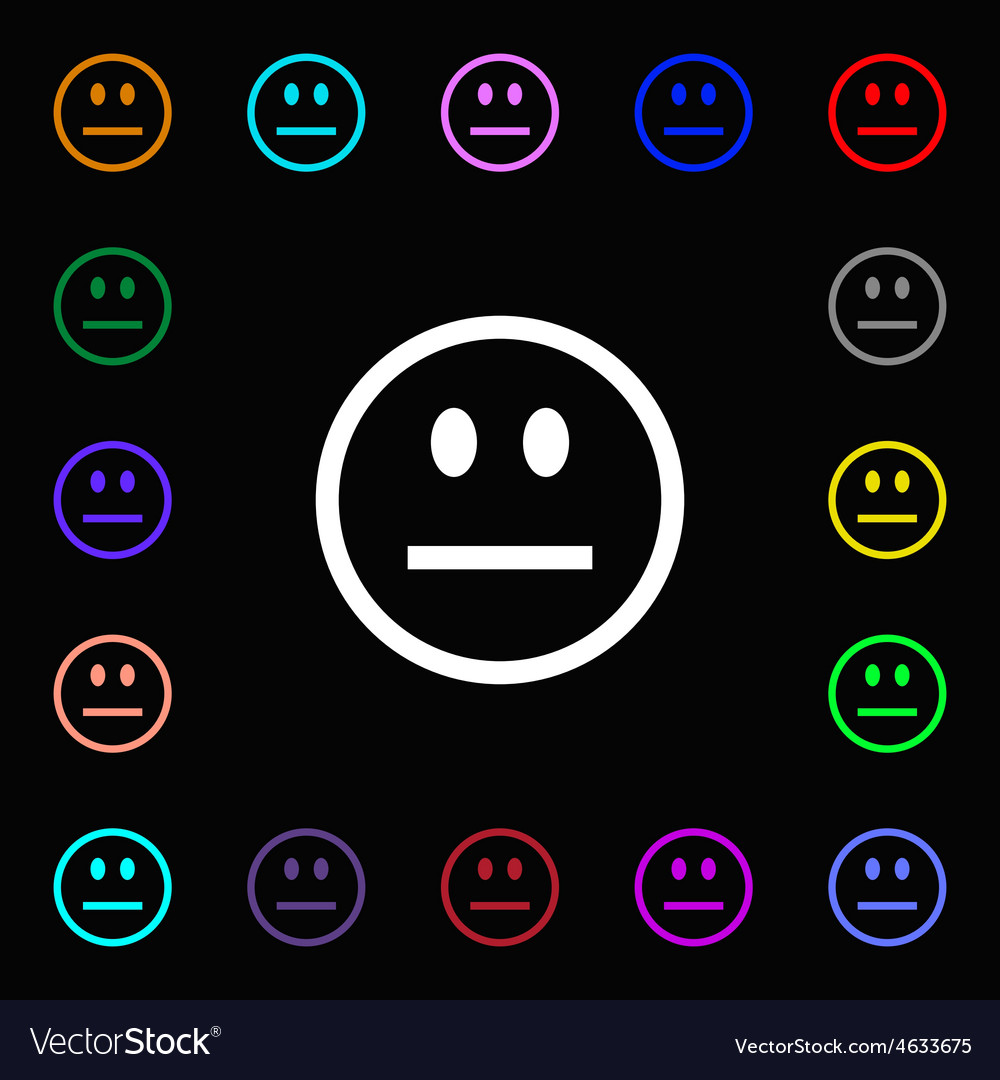 Sad face sadness depression icon sign lots of vector | Price: 1 Credit (USD $1)