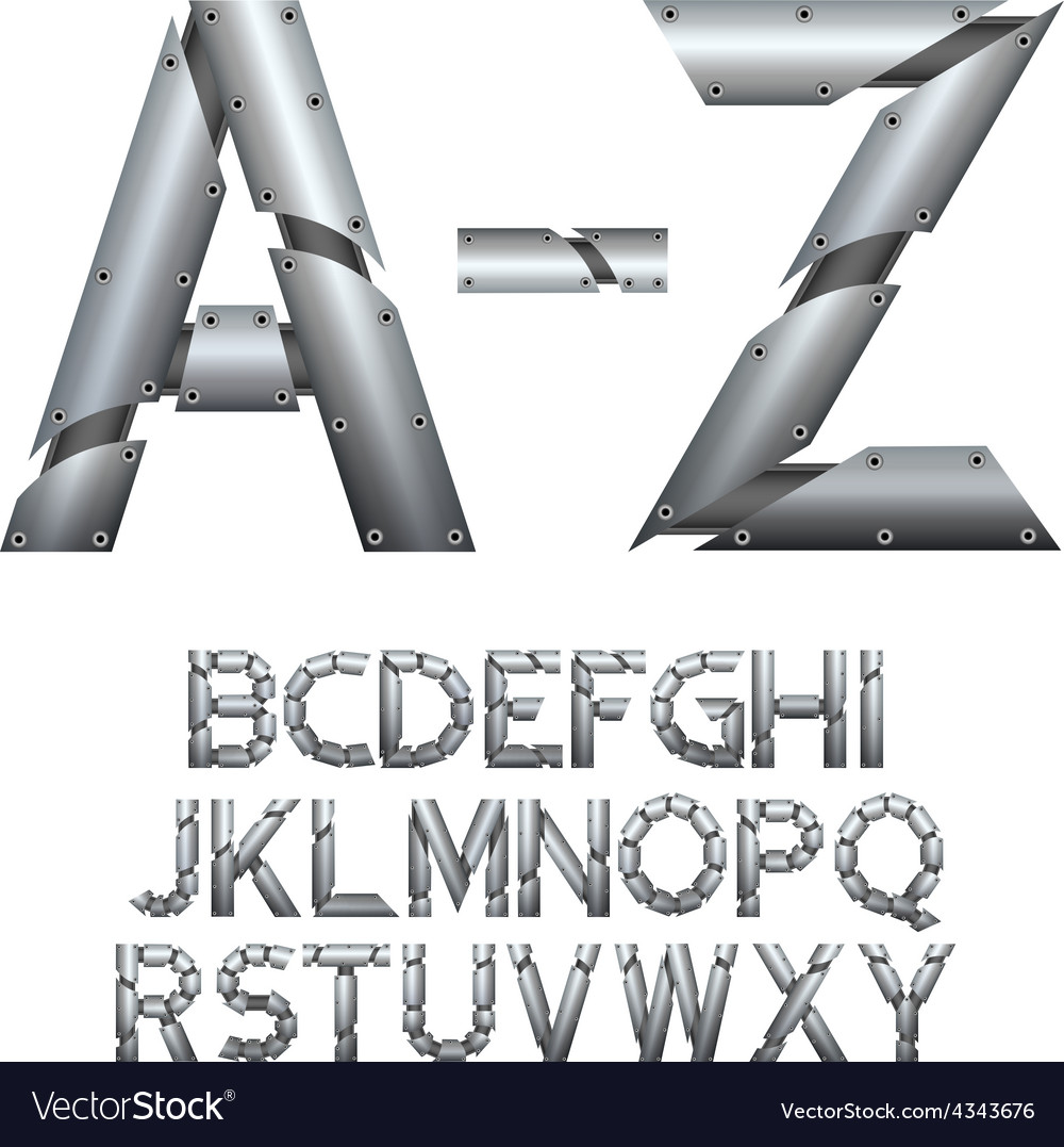 Alphabet metal construction isolated on white vector