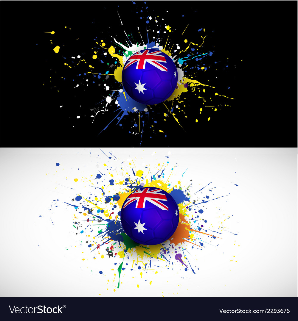 Australia flag with soccer ball dash on colorful vector | Price: 1 Credit (USD $1)