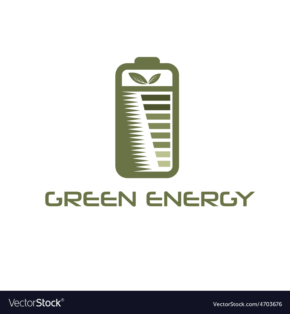Battery with leaves vector | Price: 1 Credit (USD $1)