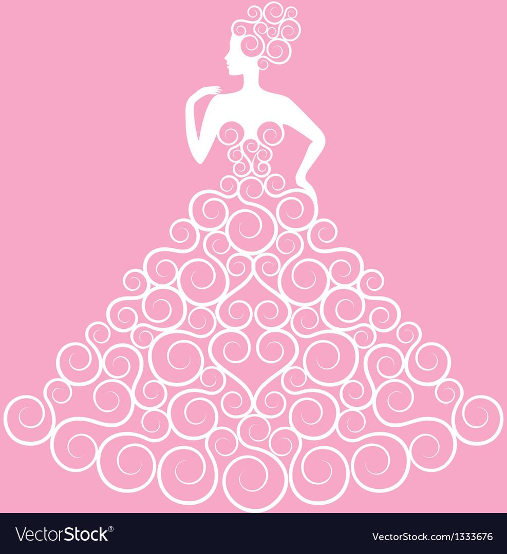 Bride in curly dress vector   Price: 1 Credit (USD $1)
