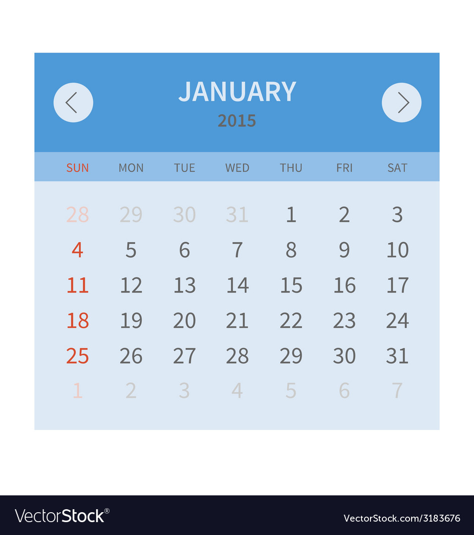 Calendar monthly january 2015 in flat design vector | Price: 1 Credit (USD $1)