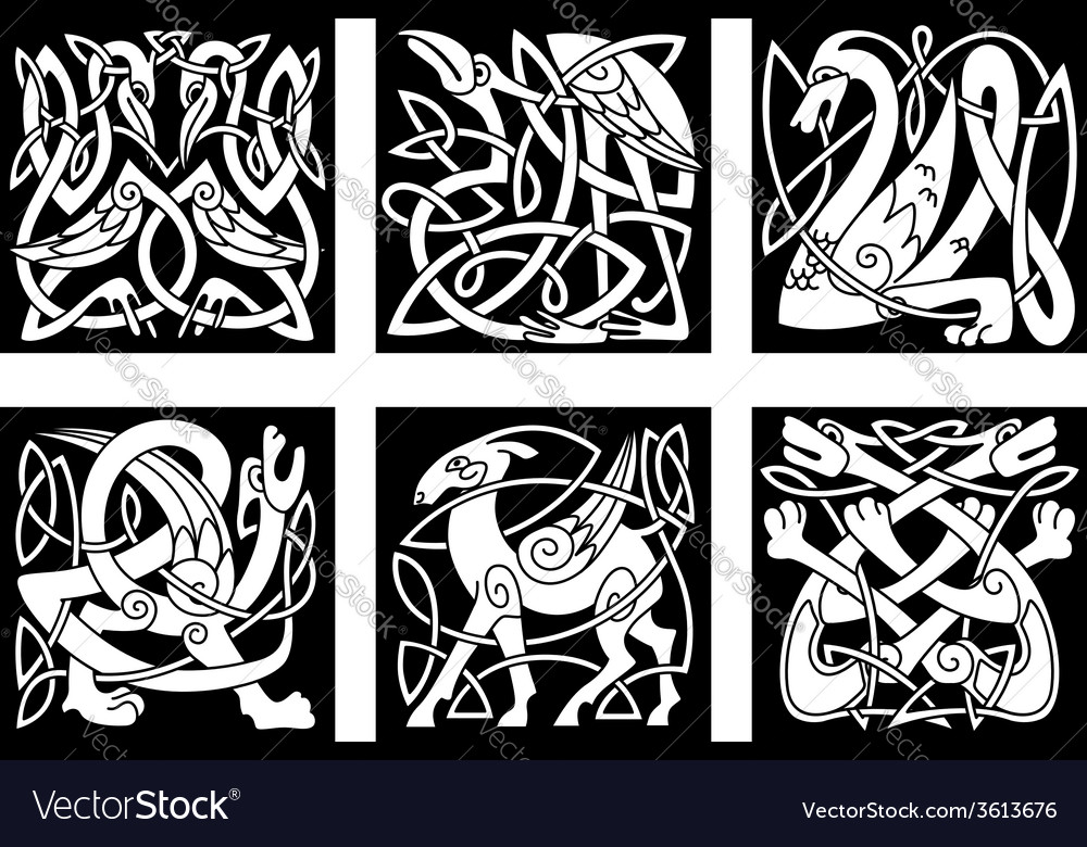 Celtic style animals on black background vector | Price: 1 Credit (USD $1)