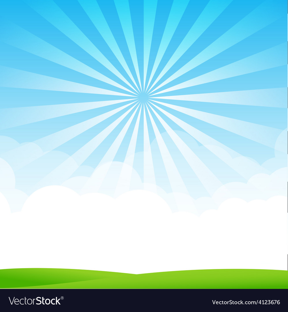Nature blue sky sunburst copy space and greenfiel vector | Price: 1 Credit (USD $1)