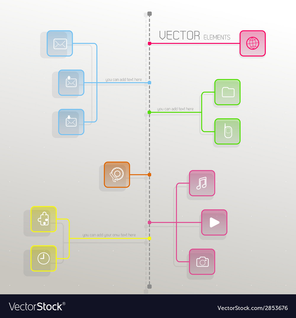 Simple flat design template with icons and symbols vector | Price: 1 Credit (USD $1)