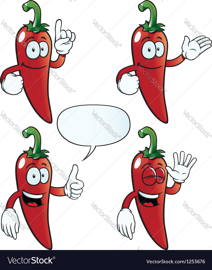 Smiling chili pepper set vector | Price: 1 Credit (USD $1)