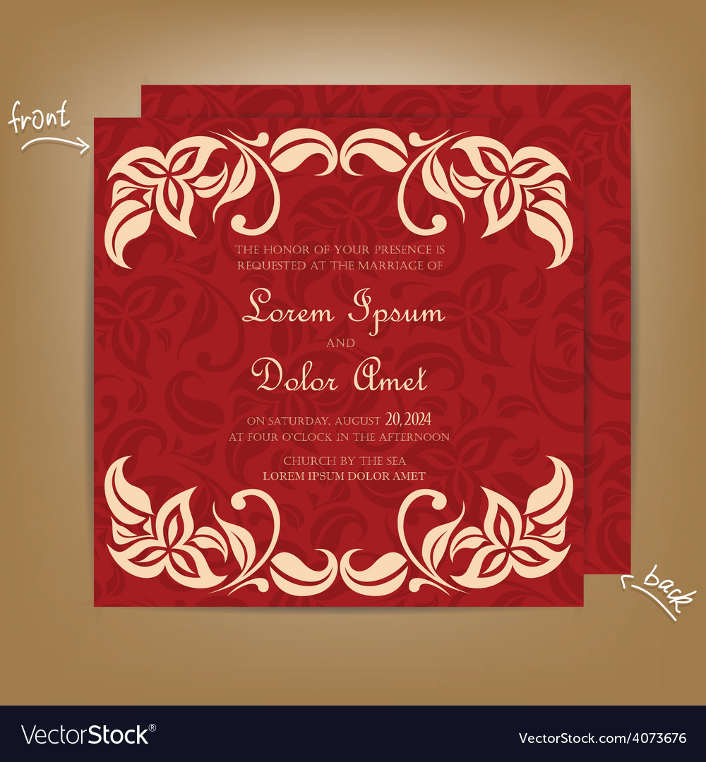 Wedding invitation with red bakground vector | Price: 1 Credit (USD $1)