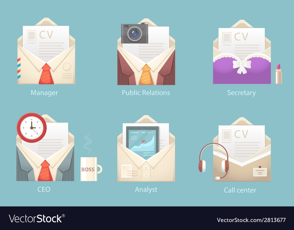 A set of characters of different envelope vector | Price: 1 Credit (USD $1)