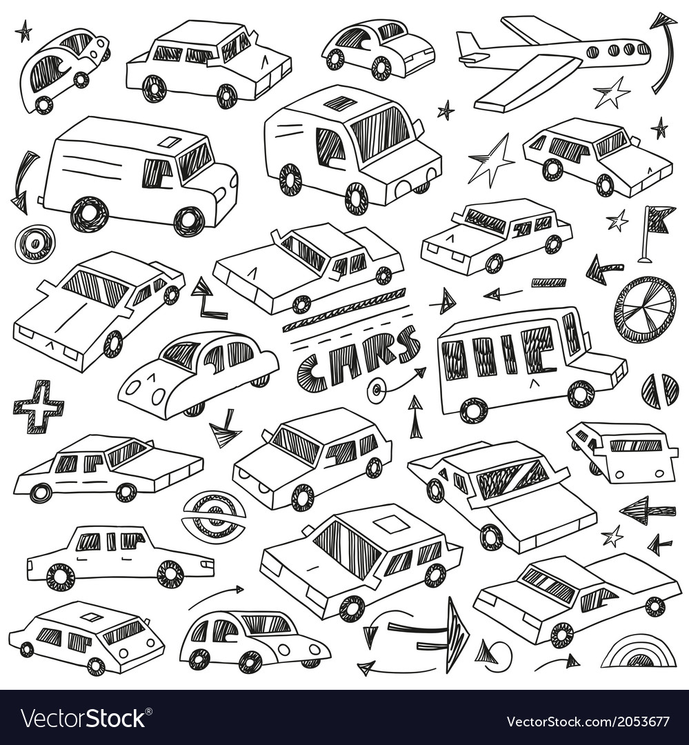 Cars doodles set vector | Price: 1 Credit (USD $1)