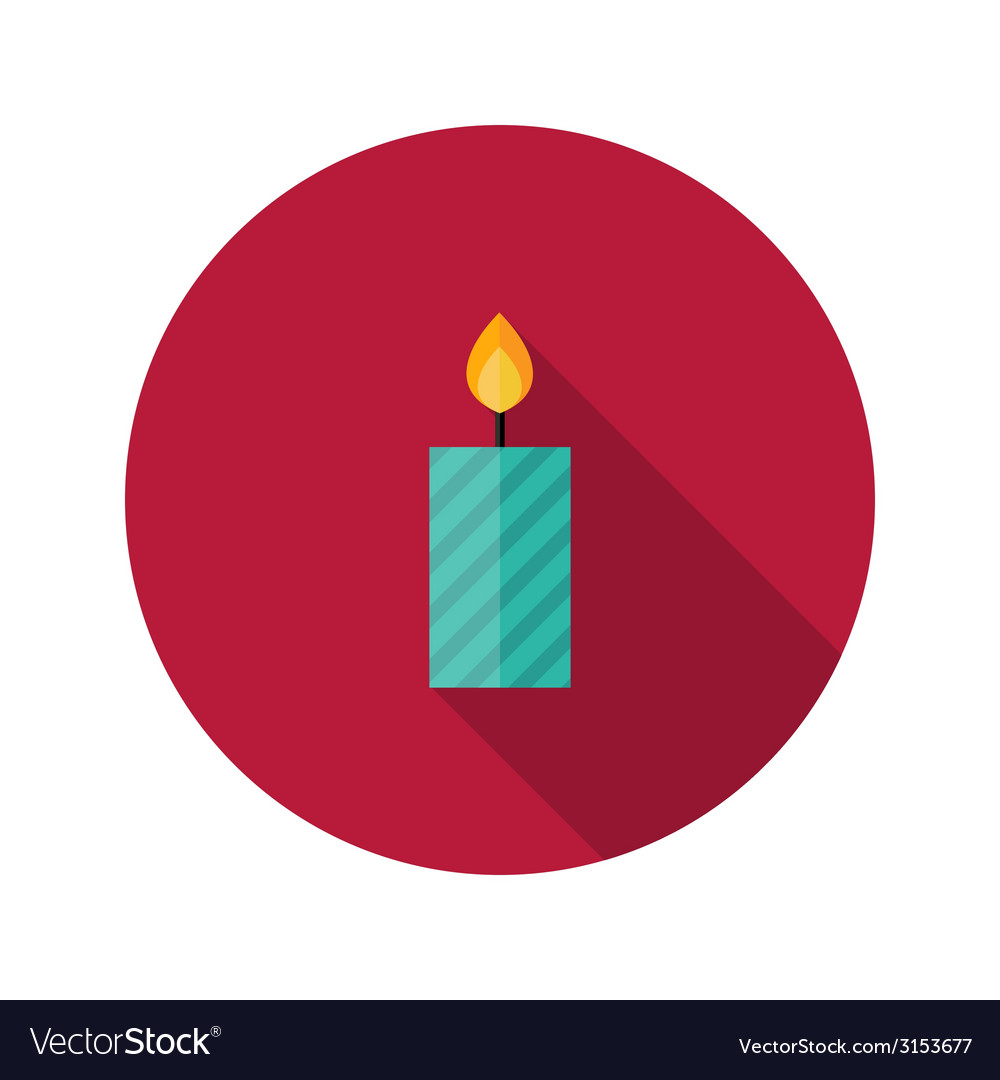 Christmas stripped candle flat icon vector | Price: 1 Credit (USD $1)