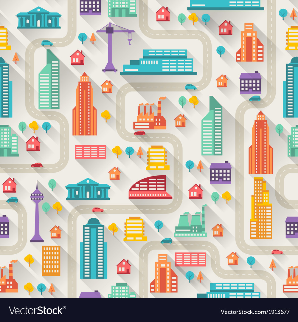 Cityscape seamless pattern with buildings vector   Price: 1 Credit (USD $1)