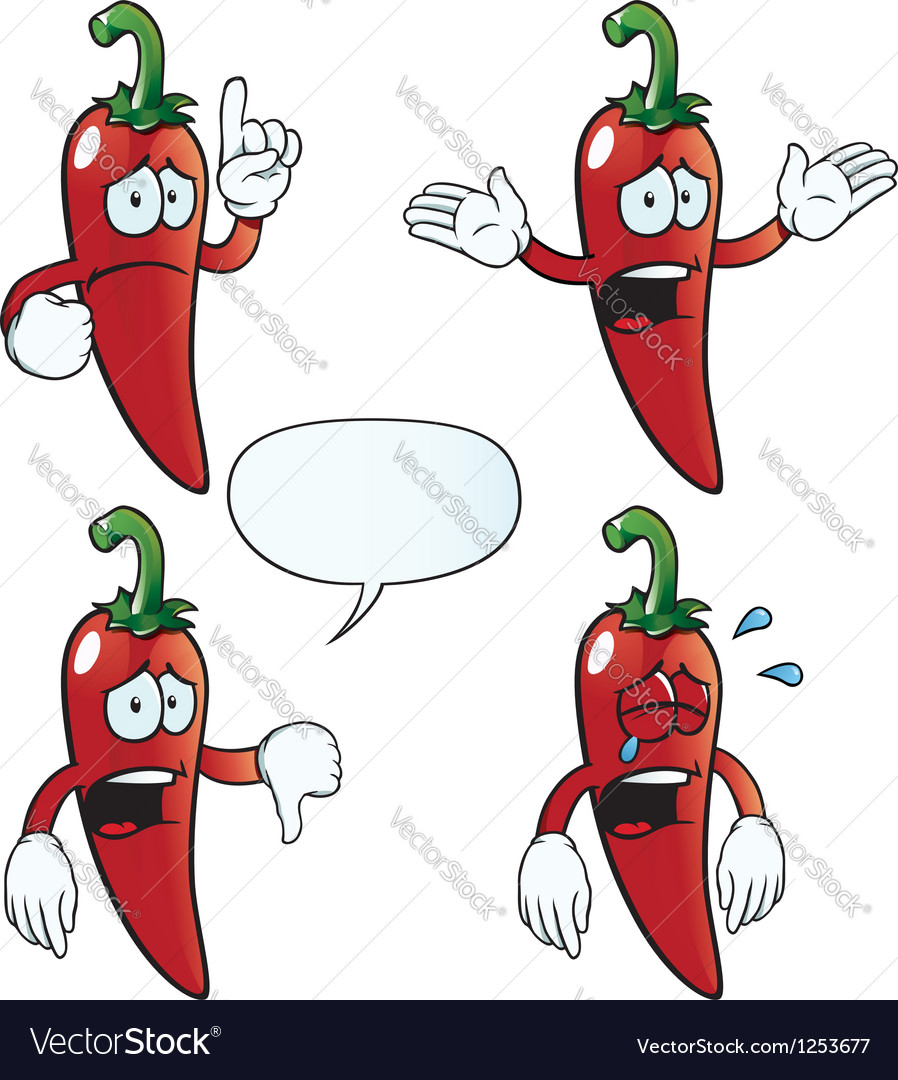 Crying chili pepper set vector | Price: 1 Credit (USD $1)