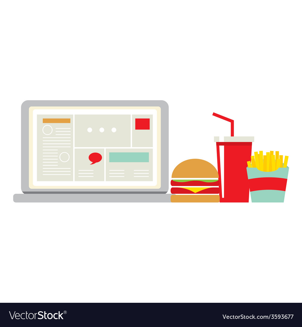 Fast food beside laptop for worker vector | Price: 1 Credit (USD $1)