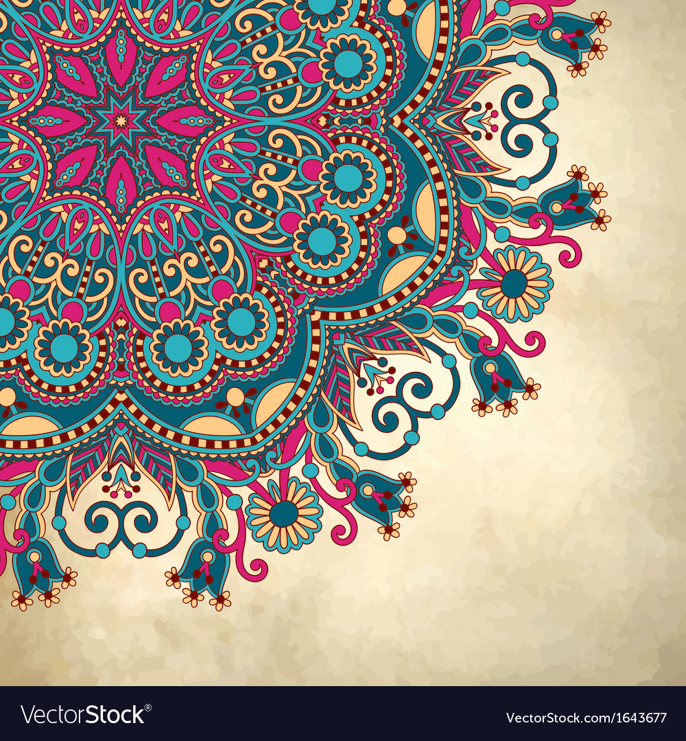 Flower circle design on grunge background vector | Price: 1 Credit (USD $1)