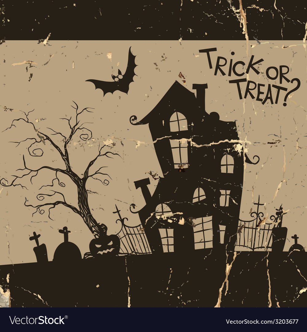 Halloween monster house with bat and pumpkins vector | Price: 1 Credit (USD $1)