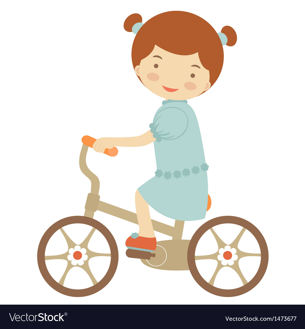 Little girl on bicycle vector | Price: 1 Credit (USD $1)