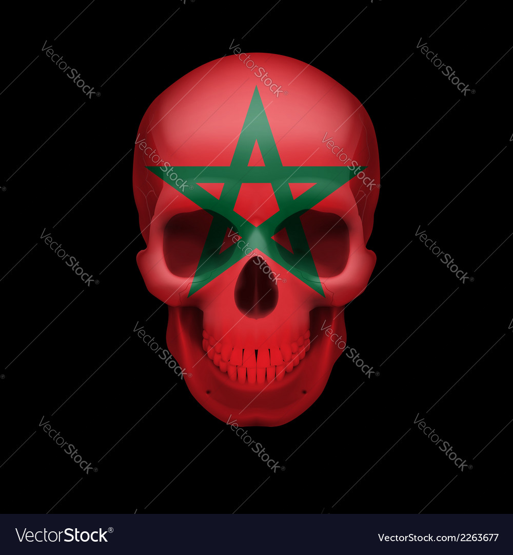 Moroccan flag skull vector | Price: 1 Credit (USD $1)