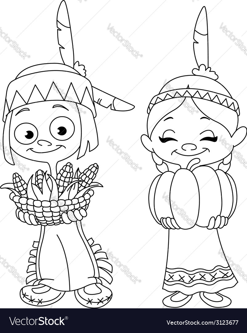 Outlined american indian children vector | Price: 1 Credit (USD $1)