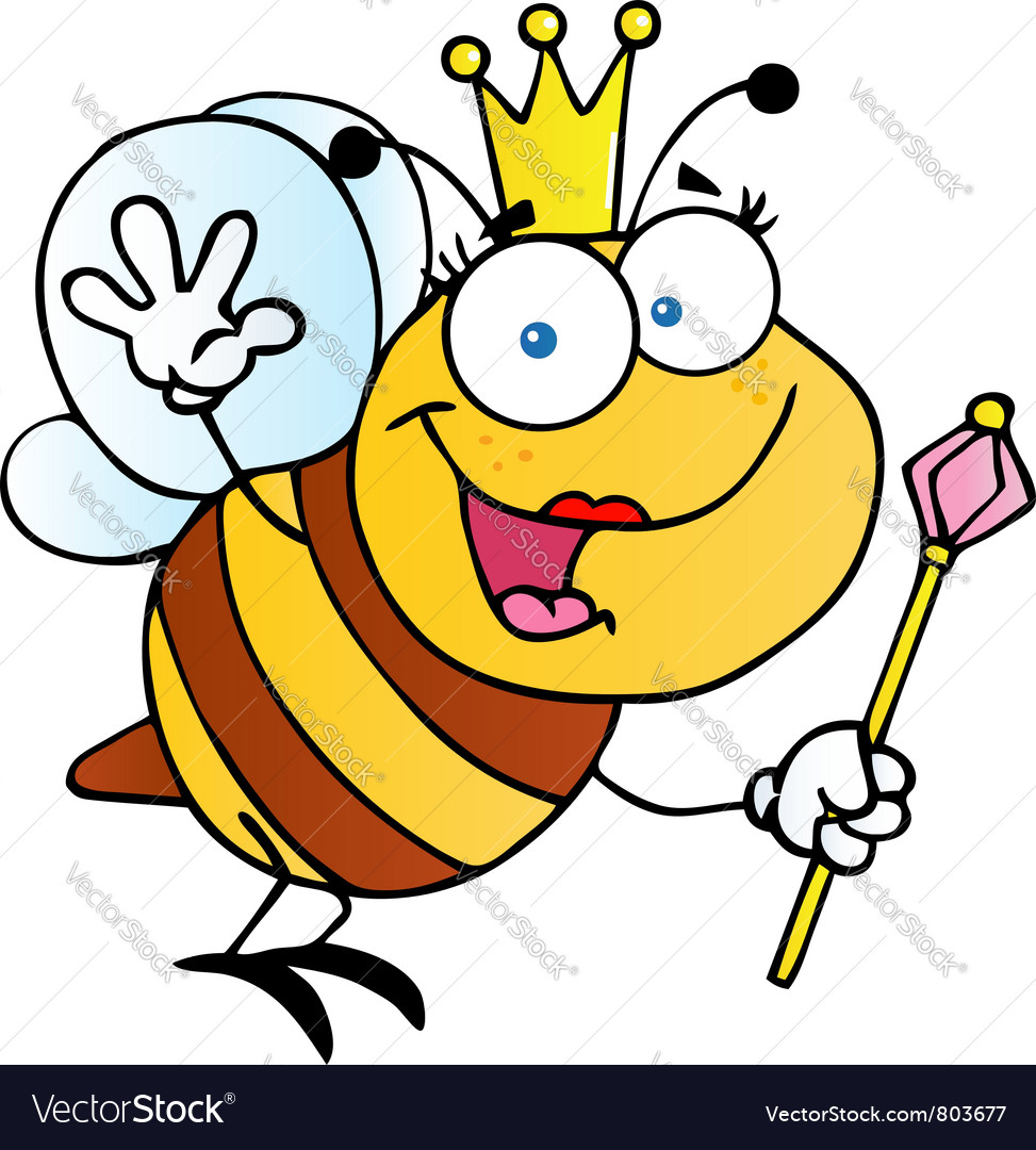 Queen bee cartoon character vector | Price: 1 Credit (USD $1)