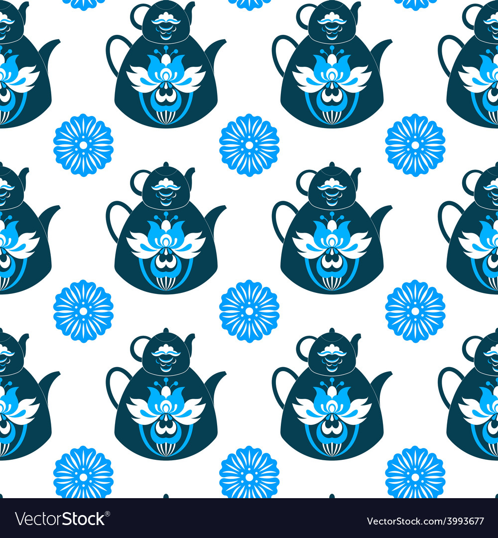 Seamless pattern of pots and flowers vector | Price: 1 Credit (USD $1)