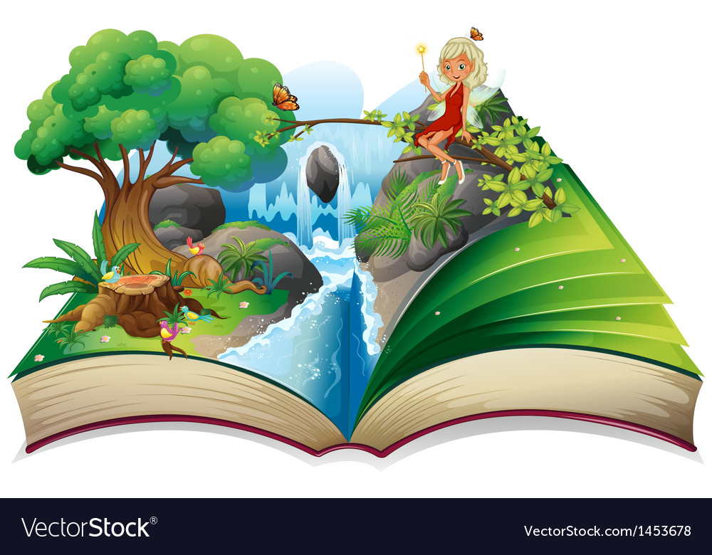 A storybook with an image of nature and a fairy vector | Price: 1 Credit (USD $1)