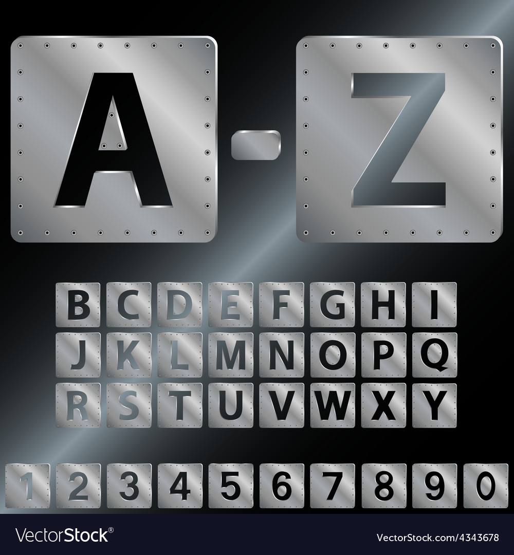 Alphabet metal plates with rivets eps 8 vector | Price: 1 Credit (USD $1)