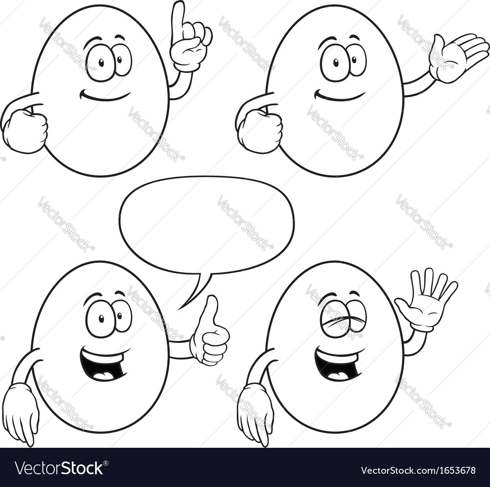 Black and white smiling egg set vector | Price: 1 Credit (USD $1)