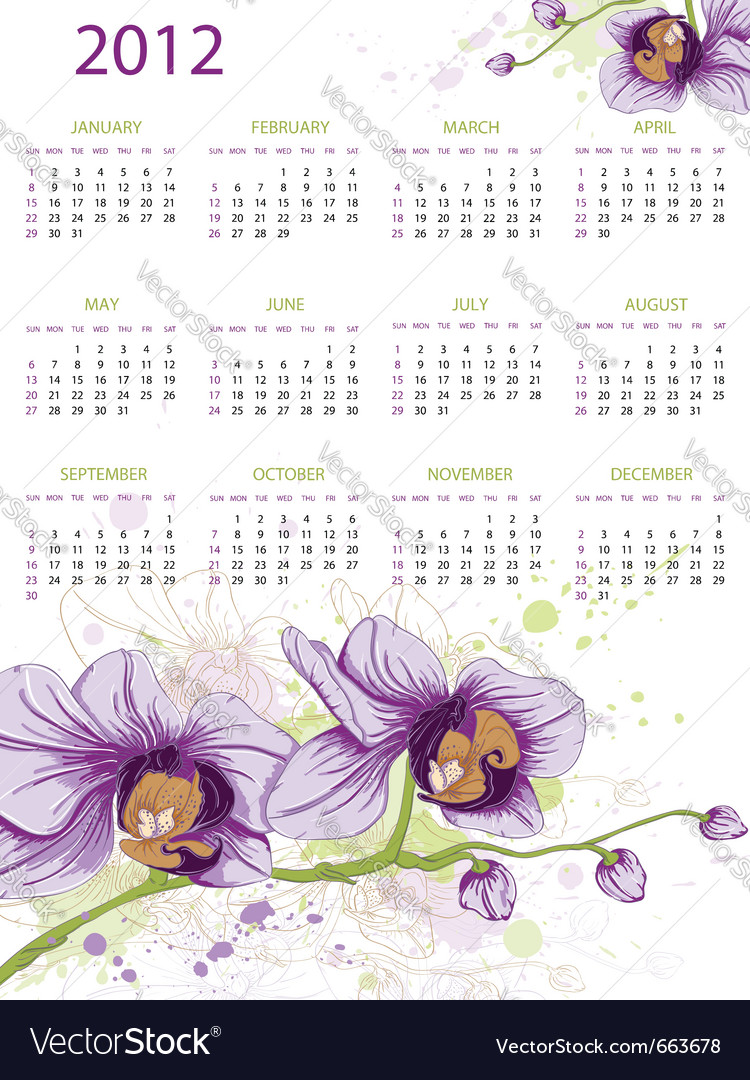 Calendar design for 2012 with floral ornament and vector | Price: 1 Credit (USD $1)
