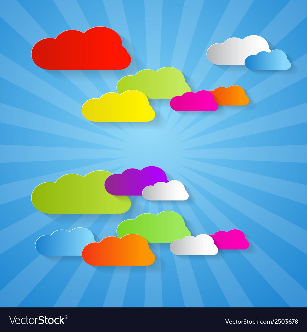 Colorful cut paper clouds on blue background vector | Price: 1 Credit (USD $1)