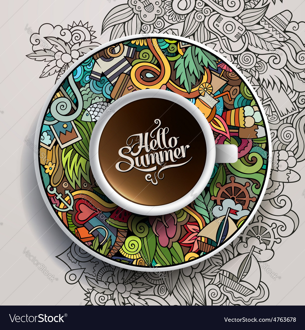 Cup of coffee and hand drawn watercolor summer vector   Price: 3 Credit (USD $3)