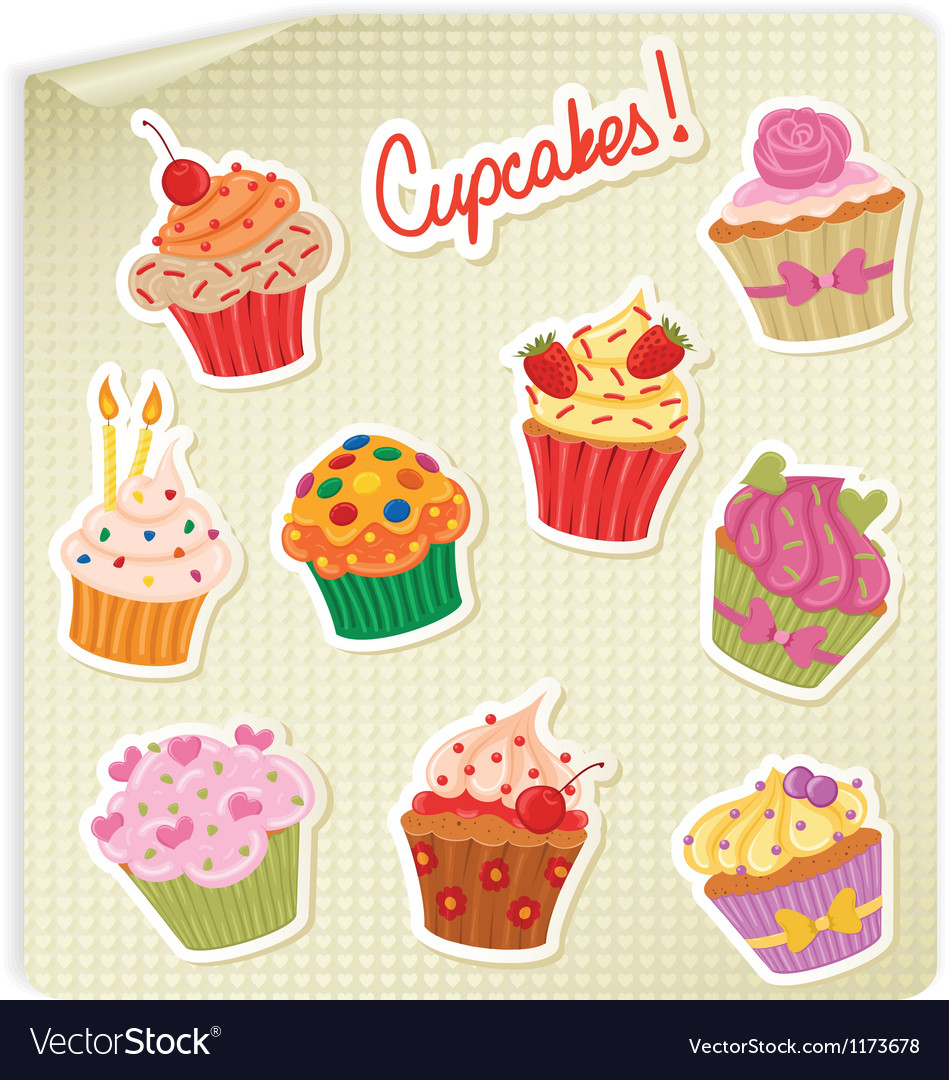 Cupcakes stick vector | Price: 1 Credit (USD $1)