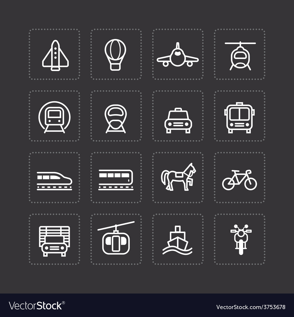 Flat icons set transportation outline concept vector | Price: 1 Credit (USD $1)
