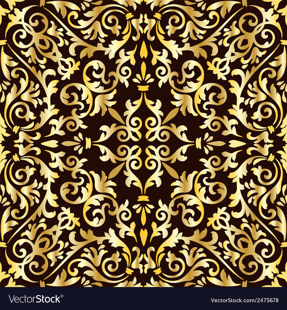 Golden baroque pattern vector | Price: 1 Credit (USD $1)