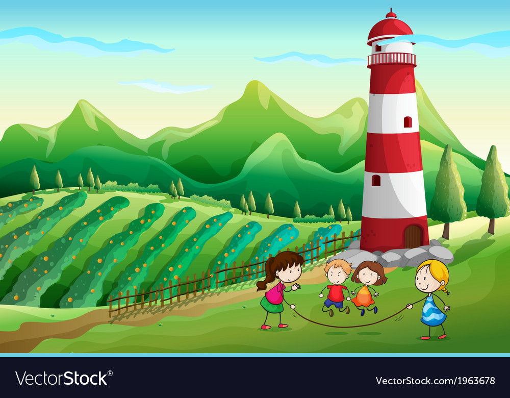 Kids playing at the farm with a tower vector | Price: 3 Credit (USD $3)