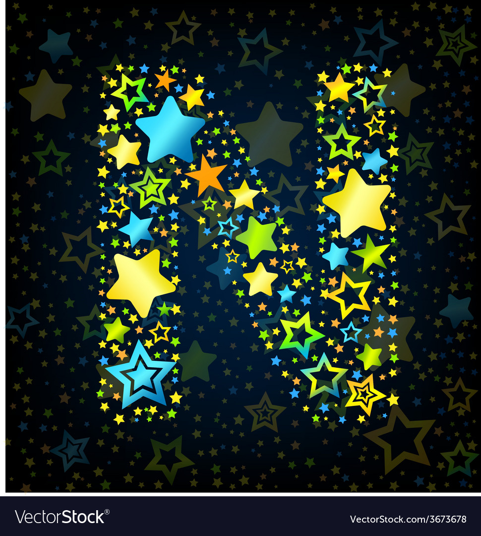 Letter n cartoon star colored vector | Price: 1 Credit (USD $1)