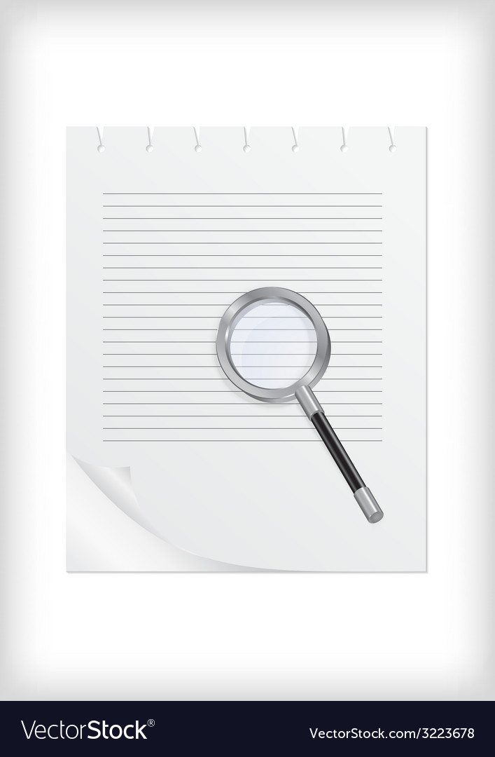 Magnifying glass with sheet of paper vector | Price: 1 Credit (USD $1)