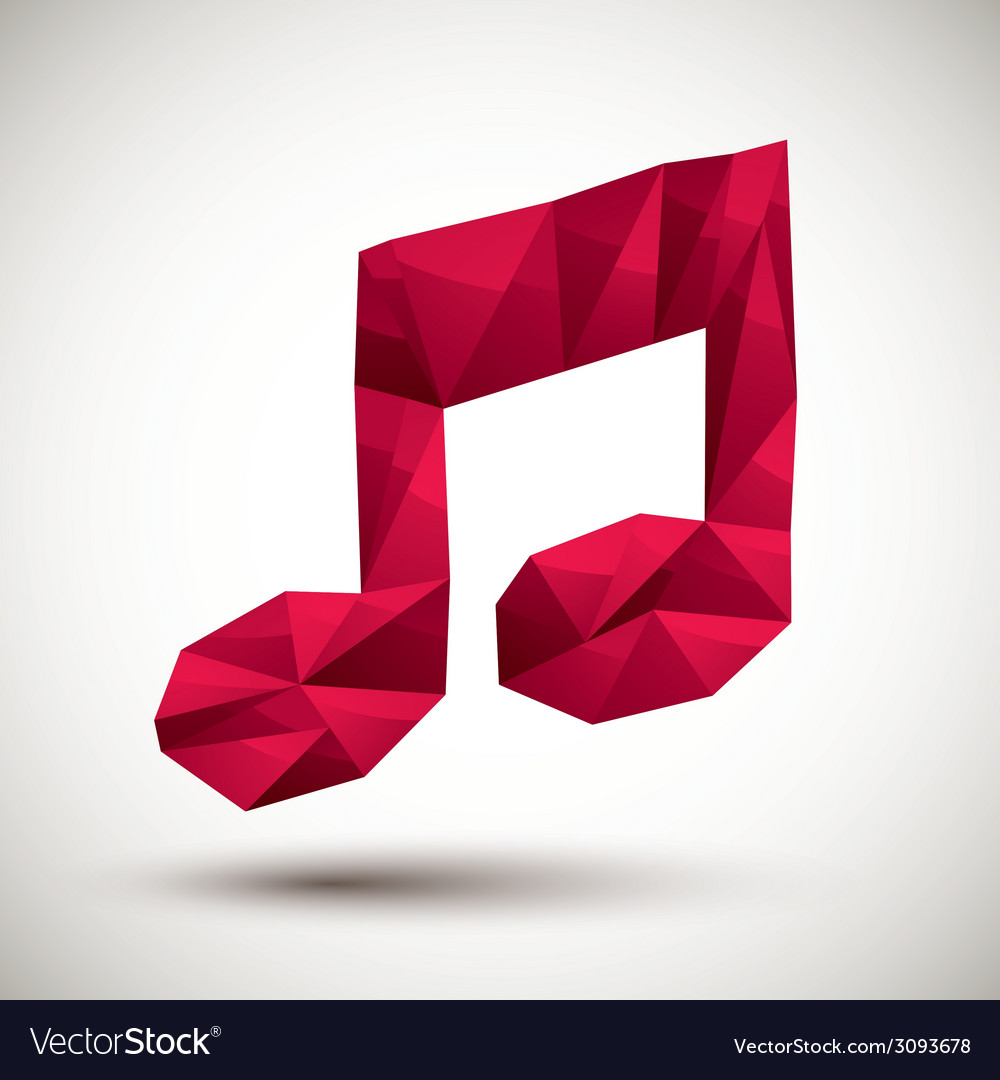 Red musical note geometric icon made in 3d modern vector | Price: 1 Credit (USD $1)