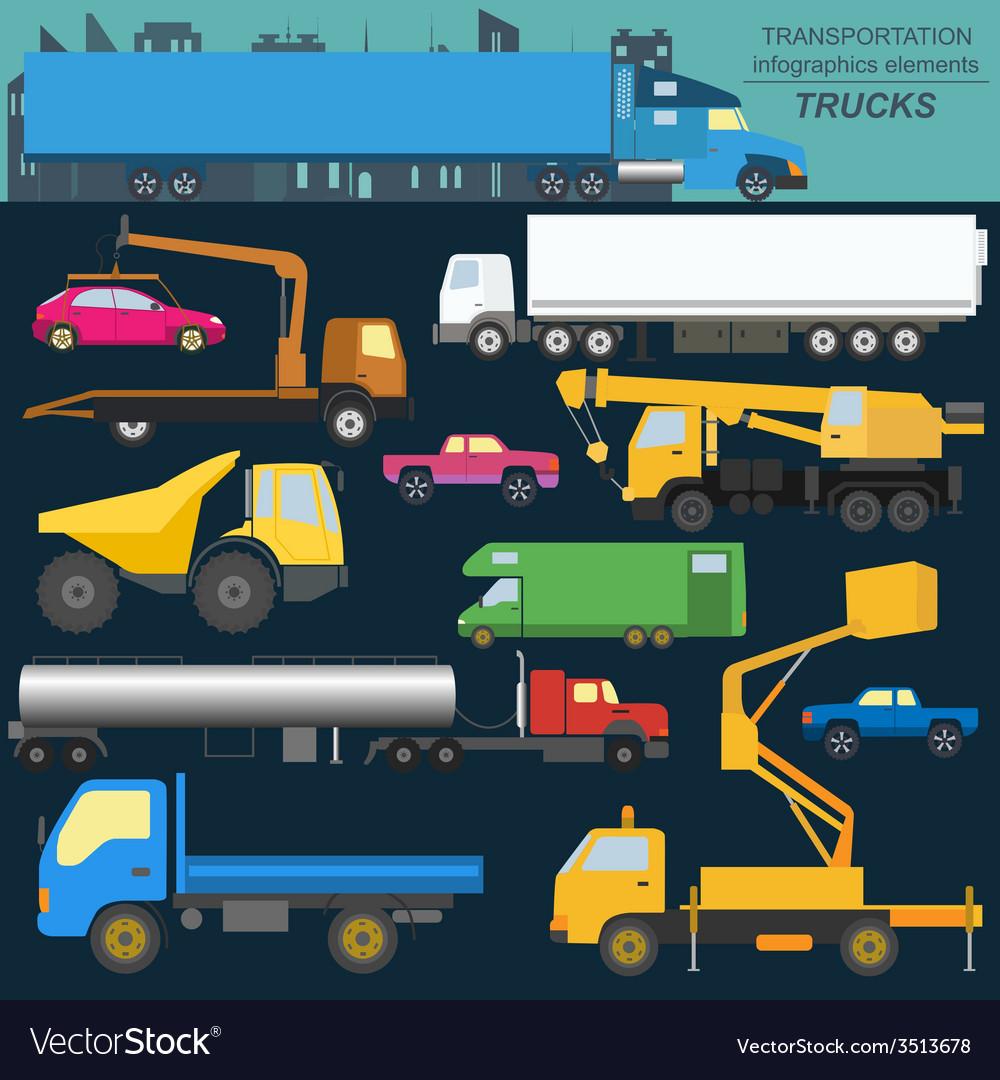Set of elements cargo transportation trucks lorry vector | Price: 1 Credit (USD $1)
