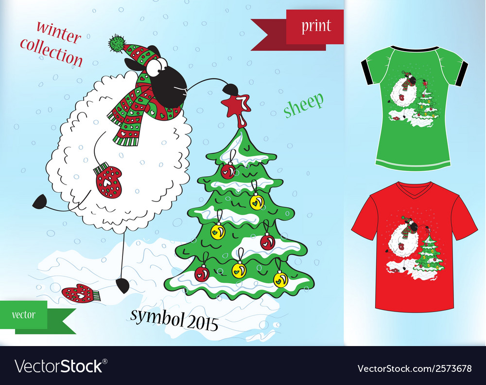 Sheep in winter hat graphic t- shirt design print vector | Price: 1 Credit (USD $1)