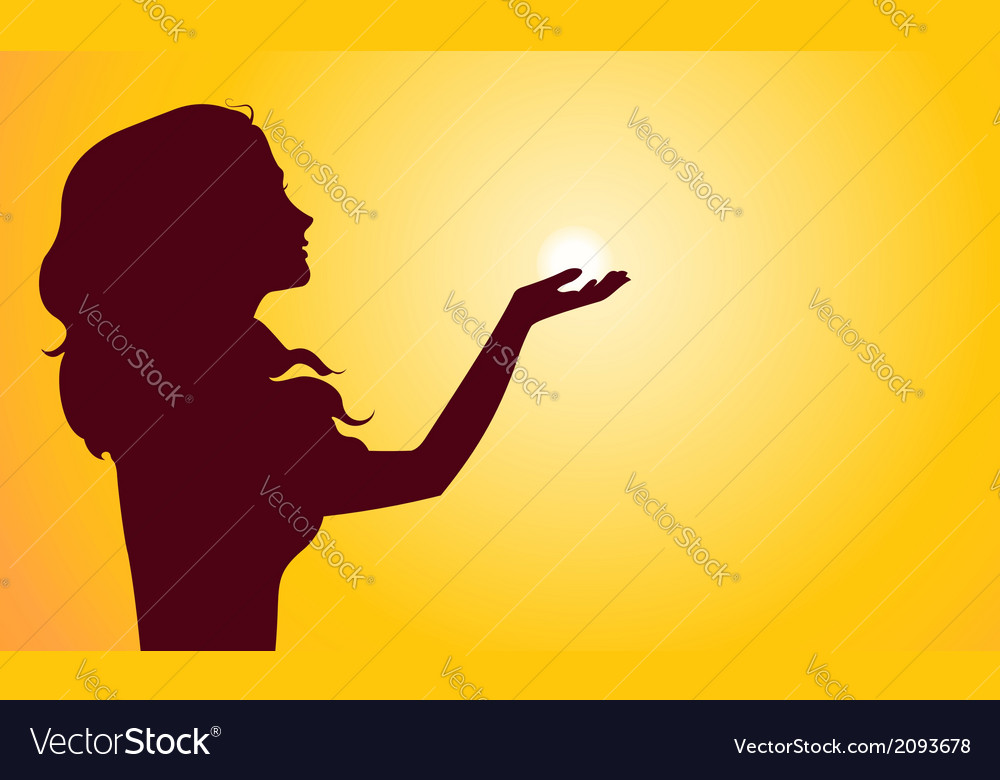 Sunset silhouette of woman vector | Price: 1 Credit (USD $1)
