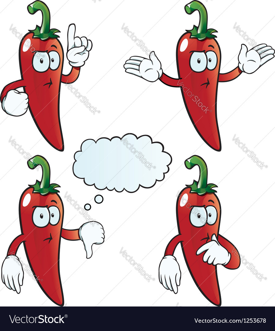 Thinking chili pepper set vector | Price: 1 Credit (USD $1)
